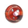 Glass Lamp Bead 14mm Round Dark Topaz/Rose